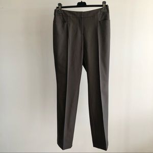 AKRIS Brown Wool Straight Leg Trousers Pants